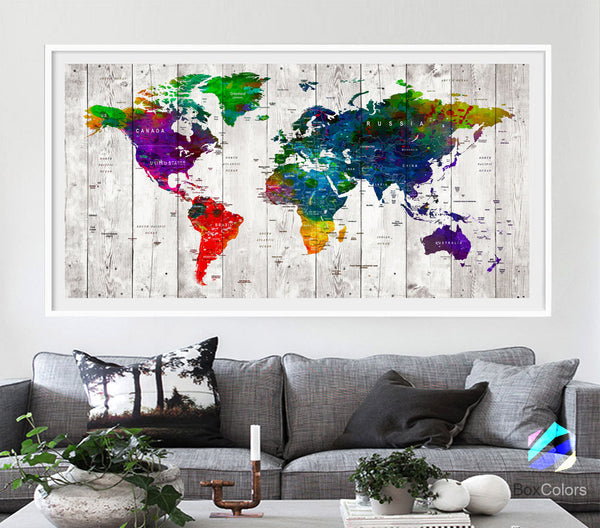 XL Poster Push Pin World Map travel wood texture Print Photo Paper watercolor Wall Decor Home (frame is not included)(P10) FREE Shipping USA