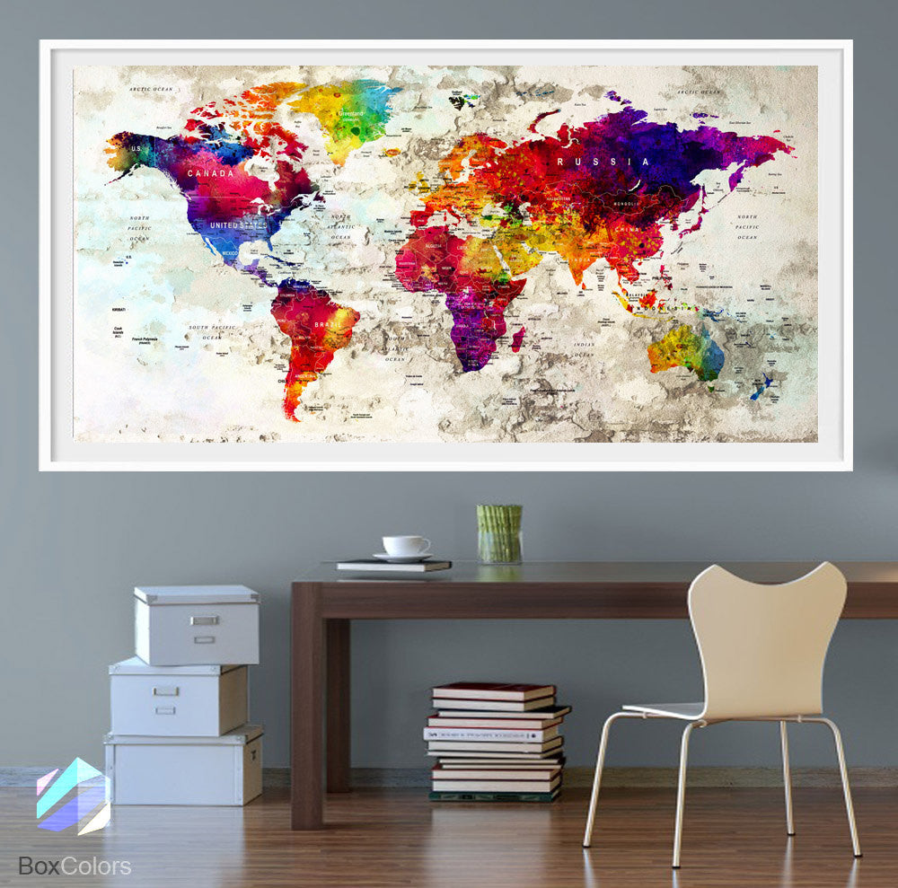 Xl poster push pin world map travel city art print photo paper xl poster push pin world map travel city art print photo paper watercolor old wall decor gumiabroncs Images