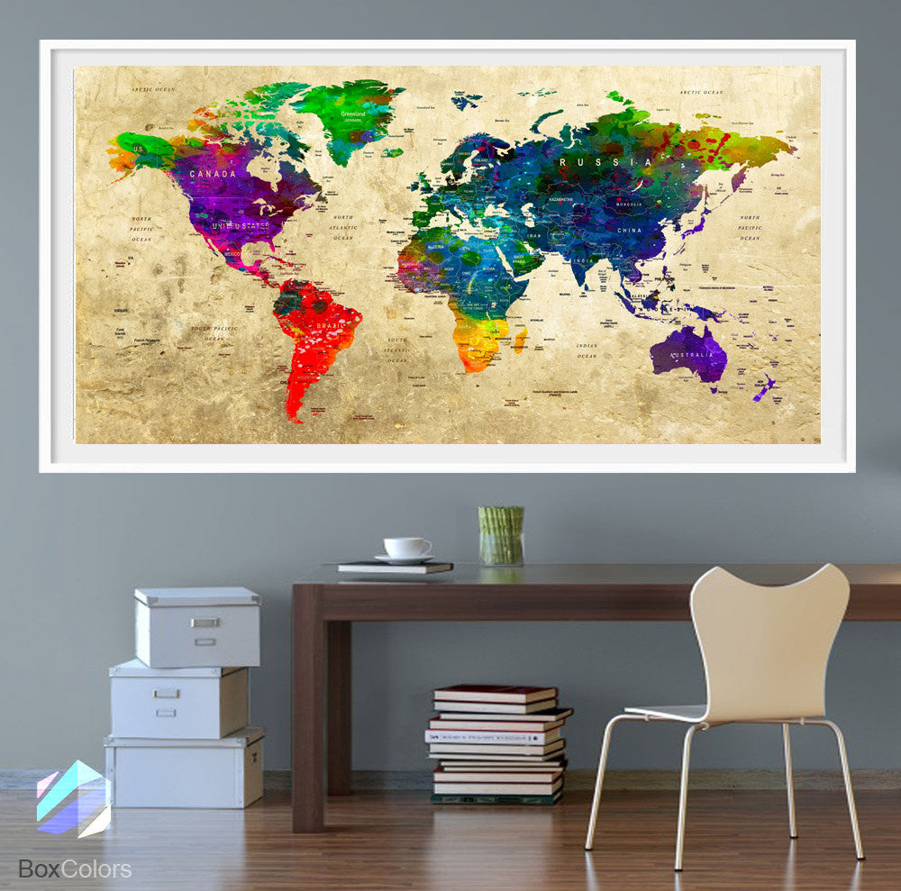 XL Poster Push Pin World Map travel Art Print Photo Paper watercolor ...