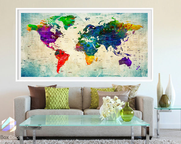 XL Poster Push Pin World Map travel Art Print Photo Paper watercolor Wall Decor Home Office (frame is not included) (P05) FREE Shipping USA!