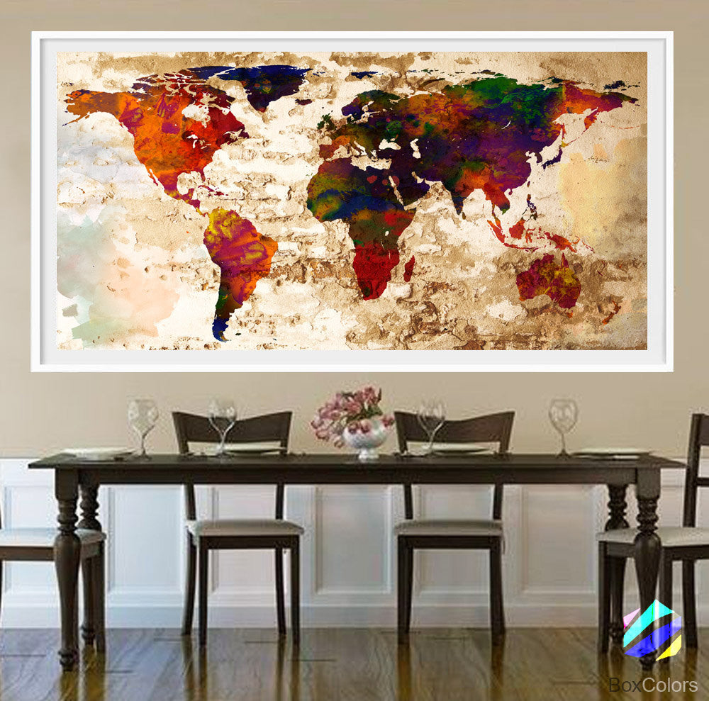 faf89733a15dc XL Poster World Map travel Art Print Photo Paper Abstract Watercolor Old  Wall Decor Home Office