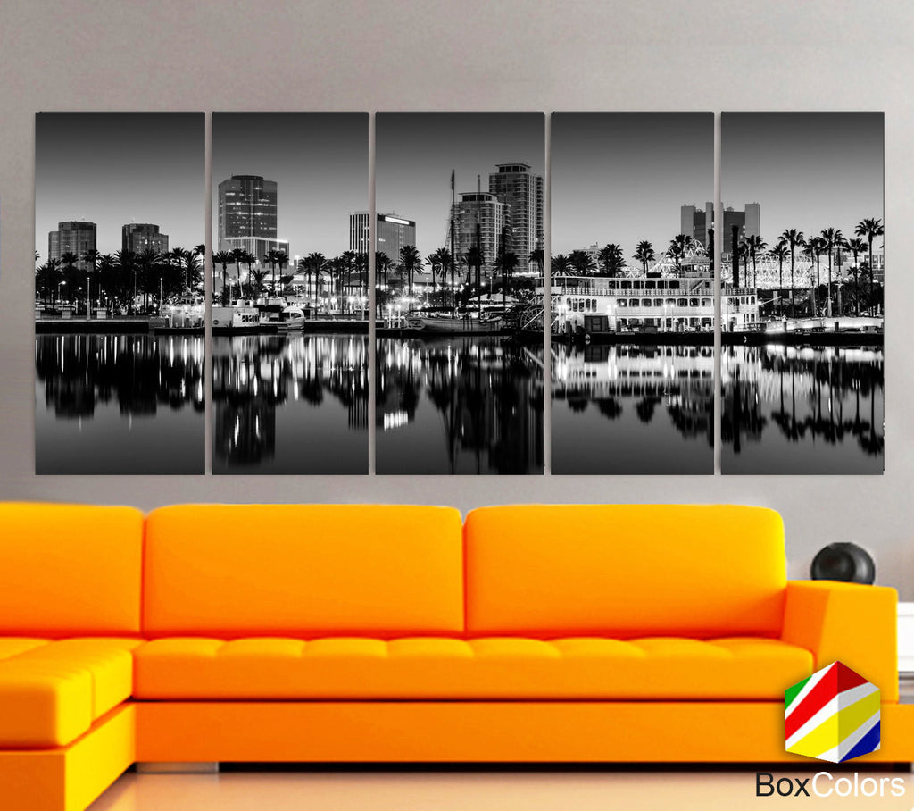 "XLARGE 30""x 70"" 5 Panels Art Canvas Print Long Beach, California Black & White Skyline Downtown Wall Home decor interior (framed 1.5"" depth) - BoxColors"