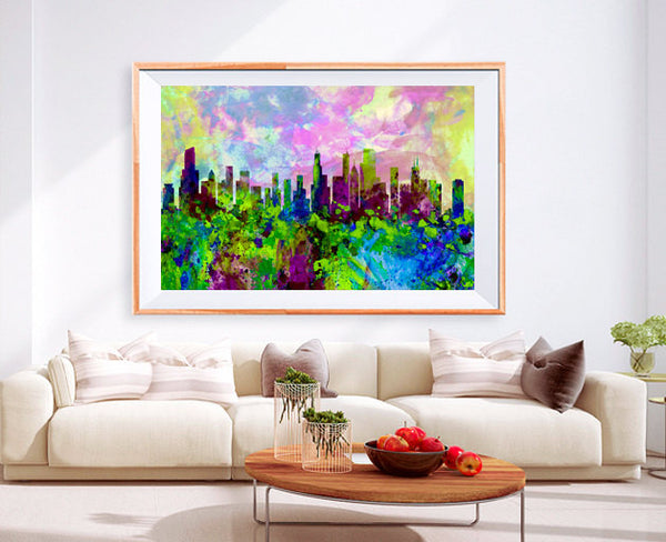 XL Poster Chicago City Skyline Art Abstract Print Photo Paper Watercolor paint Wall Decor Home (frame is not included) FREE Shipping USA !!!