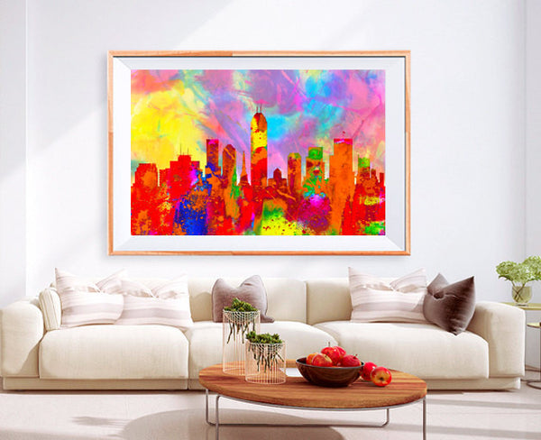 XL Poster Indianapolis City Skyline Art Abstract Print Photo Paper Watercolor Wall Decor Home (frame is not included) FREE Shipping USA !!!