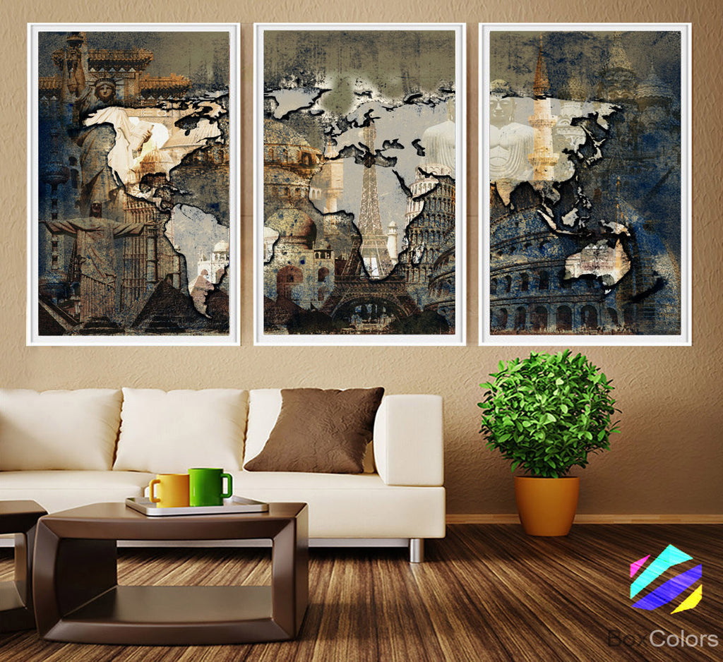 XL 3 Panels Poster World Map Art Print Photo Paper Wonders of the World Watercolor Wall Decor Home (frame is not included) FREE Shipping USA