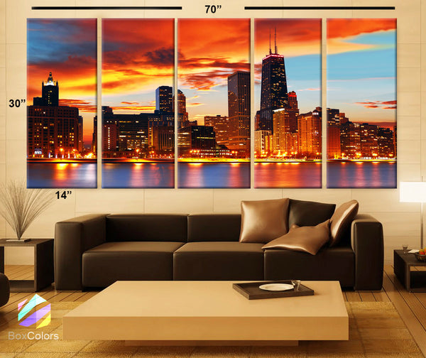 "XLARGE 30""x 70"" 5 Panels Art Canvas Print Chicago Skyline light sunset Full color Wall decor home Office ( framed 1.5"" depth) - BoxColors"