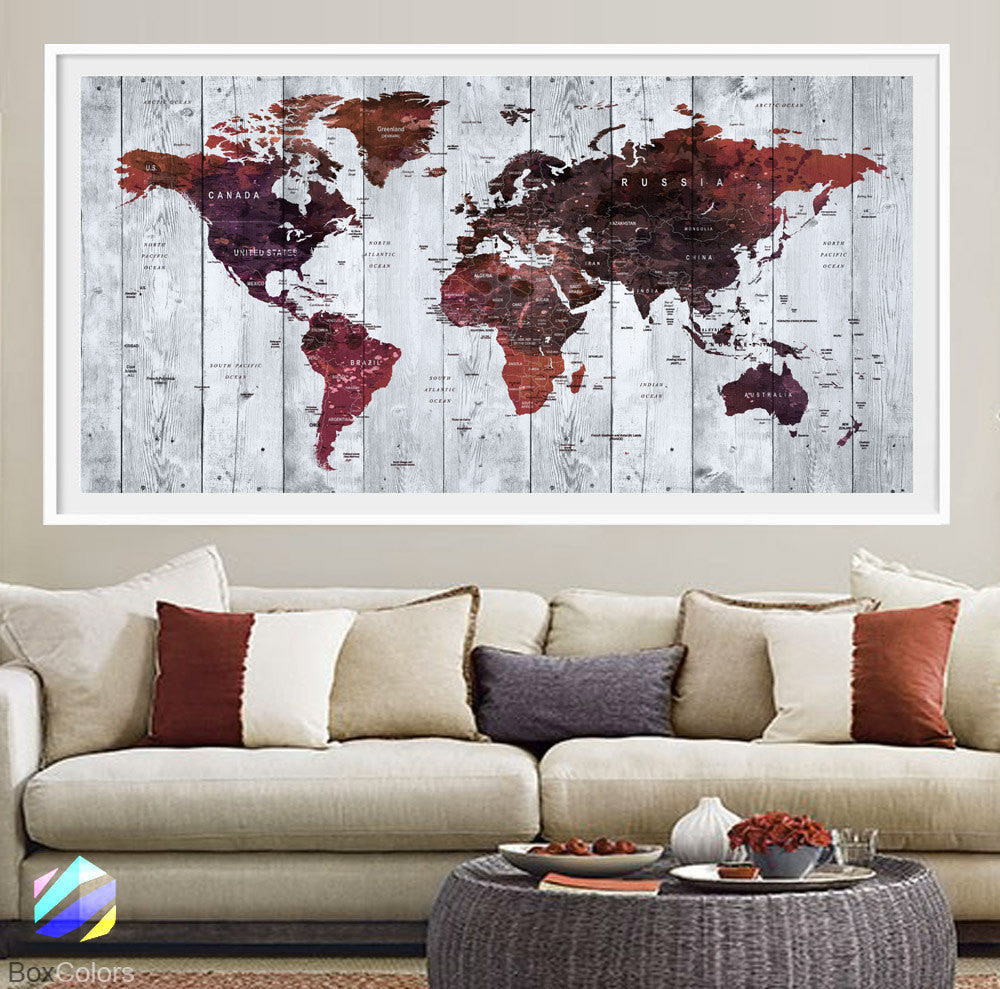 XL Poster Push Pin World Map travel Art Print Photo Paper watercolor wood texture Wall Decor (frame is not included)(P23) FREE Shipping USA - BoxColors