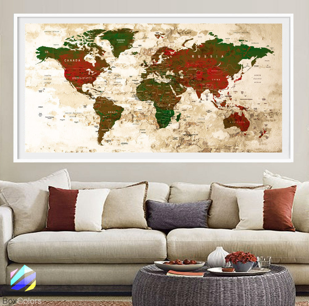 XL Poster Push Pin World Map travel Art Print Photo Paper watercolor Old Wall Decor Home (frame is not included) (P24) FREE Shipping USA!!! - BoxColors