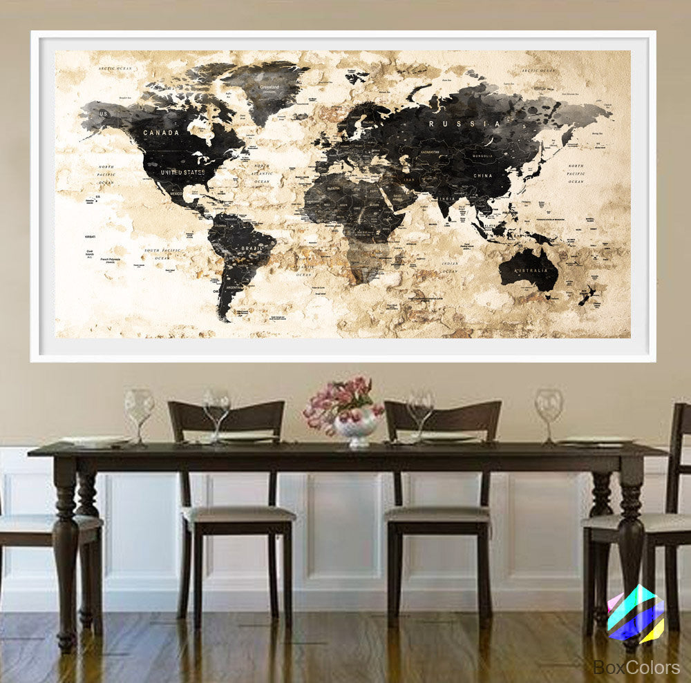 Xl poster push pin world map cities travel art print photo paper xl poster push pin world map cities travel art print photo paper watercolor wall decor home gumiabroncs Images