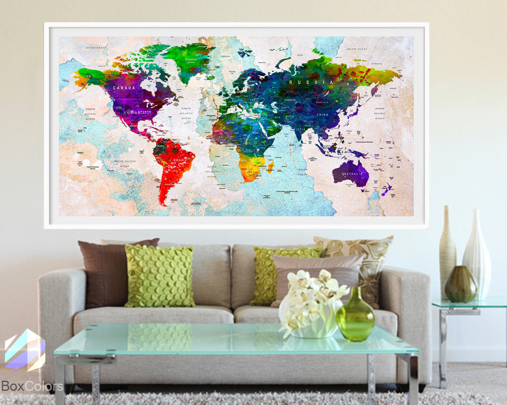 68b18da494d90 XL Poster Push Pin World Map travel Art Print Photo Paper cities watercolor  Old Wall Decor