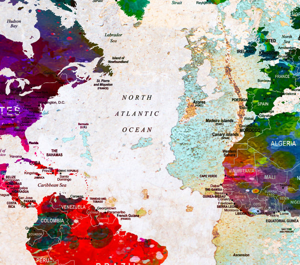 XL Poster Push Pin World Map travel Art Print Photo Paper cities watercolor Old Wall Decor (frame is not included) (P07) FREE Shipping USA!