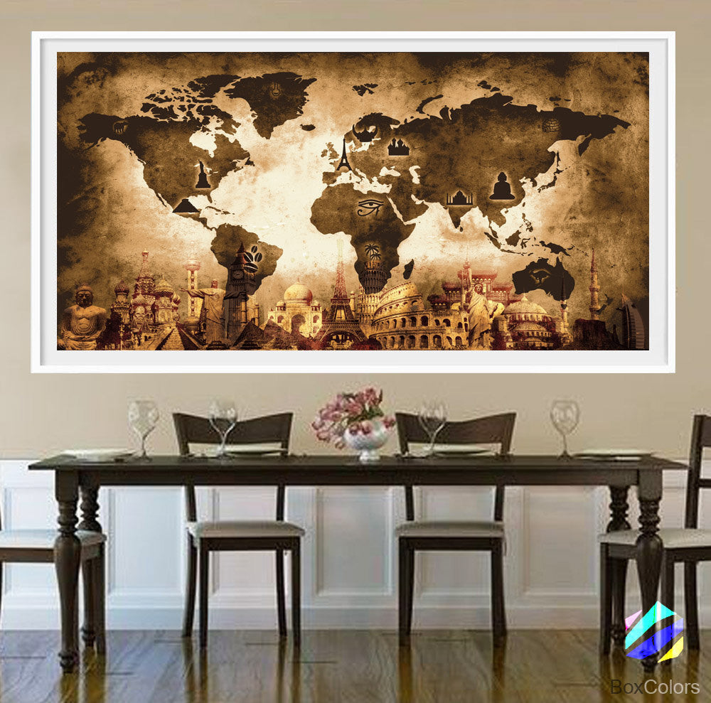 XL Poster World Map travel Art Print Photo Paper Abstract Watercolor Old texture Wall Decor Home  (frame is not included) FREE Shipping USA!