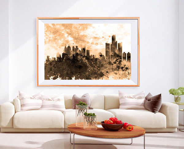 XL Poster Detroit downtown City Skyline Art Abstract Print Photo Paper Watercolor Wall Decor Home (frame is not included) FREE Shipping USA