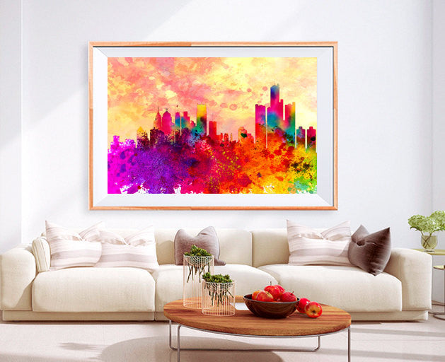 Xl Poster Detroit Downtown City Skyline Art Abstract Print Photo Paper Watercolor Wall Decor Home Frame Is Not Included Free Shipping Usa