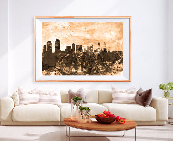 XL Poster San Diego ca City Skyline Art Abstract Print Photo Paper Watercolor Wall Decor Home (frame is not included) FREE Shipping USA !!!