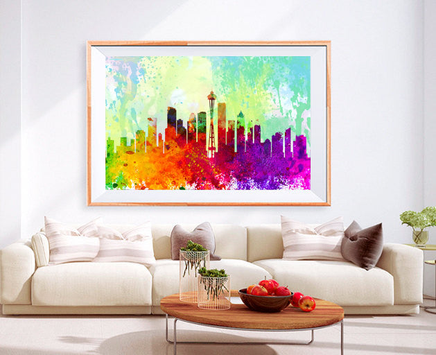 XL Poster washington City Skyline Art Abstract Print Photo Paper Watercolor Wall Decor Home (frame is not included) FREE Shipping USA !!! - BoxColors