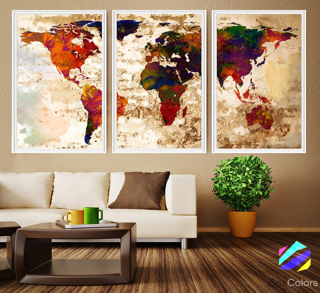 XL 3 Panels Poster World Map travel Art Print Photo Paper Abstract Watercolor Old Wall Decor Home (frame is not included) FREE Shipping USA!