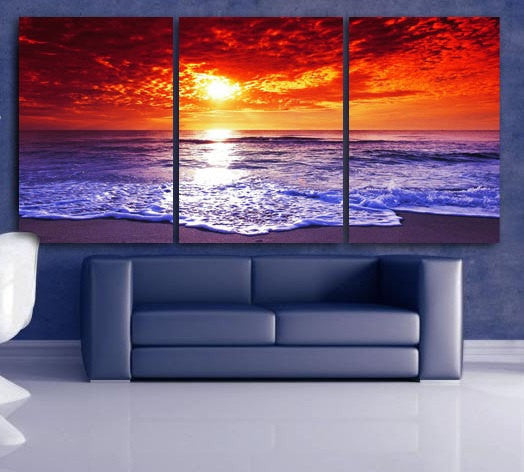 "LARGE 30""x 60"" 3 Panels Art Canvas Print Beach Sunset Wall (Included framed 1.5"" depth) - BoxColors"
