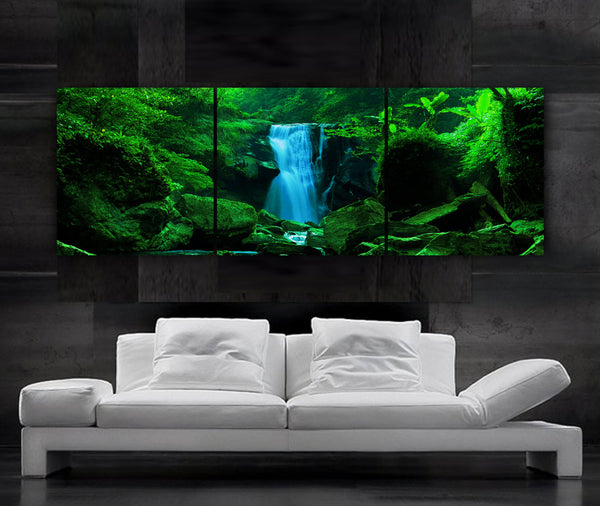 "LARGE 20""x 60"" 3 panels Art Canvas Print  Waterfall Cascade trees Wall decor - BoxColors"