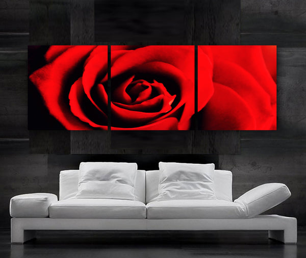 "LARGE 20""x 60"" 3 panels Art Canvas Print  Flower Rose Red Floral Wall (Included framed 1.5"" depth)"