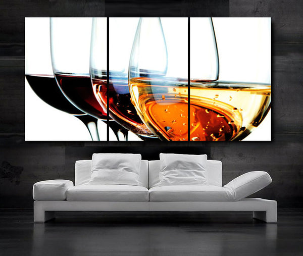 "LARGE 30""x 60"" 3 Panels Art Canvas Print Beautiful Wine Glass Red White Wall (Included framed 1.5"" depth) - BoxColors"