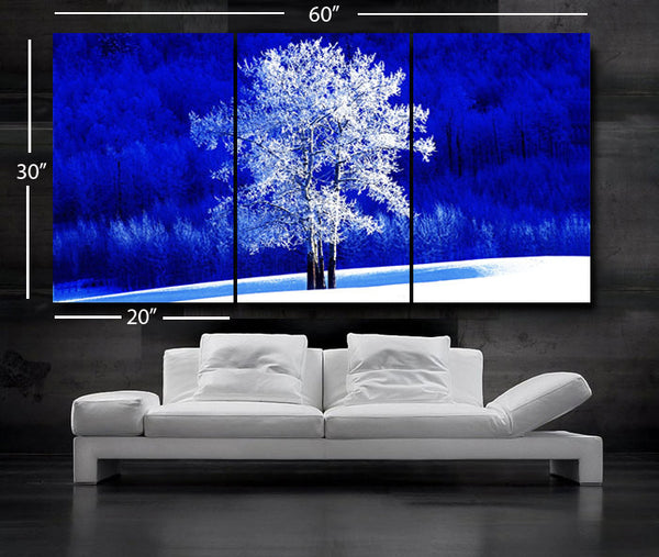 "LARGE 30""x 60"" 3 Panels Art Canvas Print Beautiful Nature winter tree Blue White Wall Home (Included framed 1.5"" depth) - BoxColors"