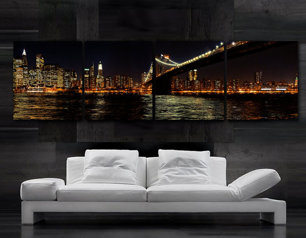 "XLARGE 20""x 80""  4 panels Art Canvas Print Beautiful New York City  Brooklyn Bridge night skyline NY Wall Home (Included framed 1.5"" depth) - BoxColors"