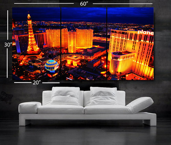 "LARGE 30""x 60"" 3 Panels Art Canvas Print Beautiful skyline Las Vegas Nevada night Wall Home (Included framed 1.5"" depth) - BoxColors"
