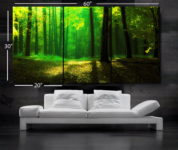 "LARGE 30""x 60"" 3 Panels Art Canvas Print beautiful Trees forest Green Yellow Yellow Wall Home (Included framed 1.5"" depth) - BoxColors"