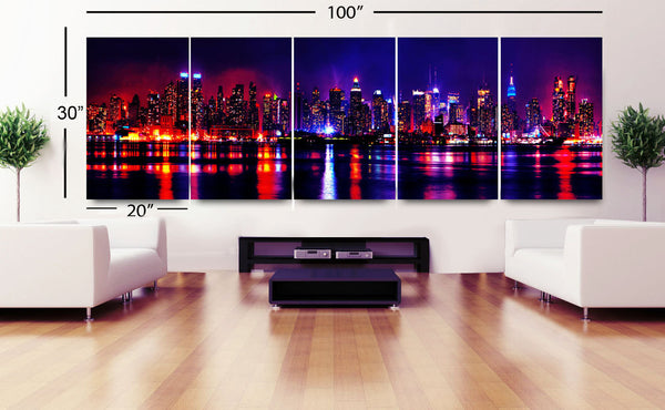 "XLARGE 20""x 96"" (8feet) 3 panels or 30x100 5 panels Art Canvas Print New York City night panoramic NY Wall Home (Included framed 1.5"" depth) - BoxColors"