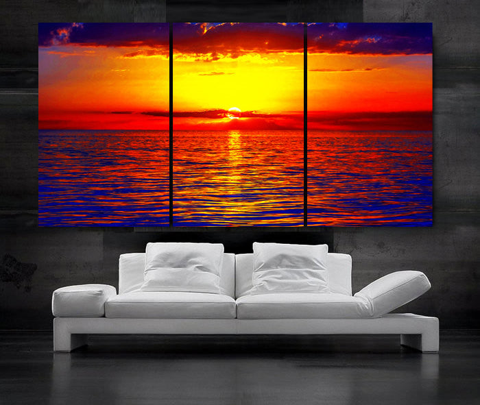 "LARGE 30""x 60"" 3 Panels Art Canvas Print Beautiful Sunset Beach ocean sun Red Yellow Blue Wall Home (Included framed 1.5"" depth) - BoxColors"