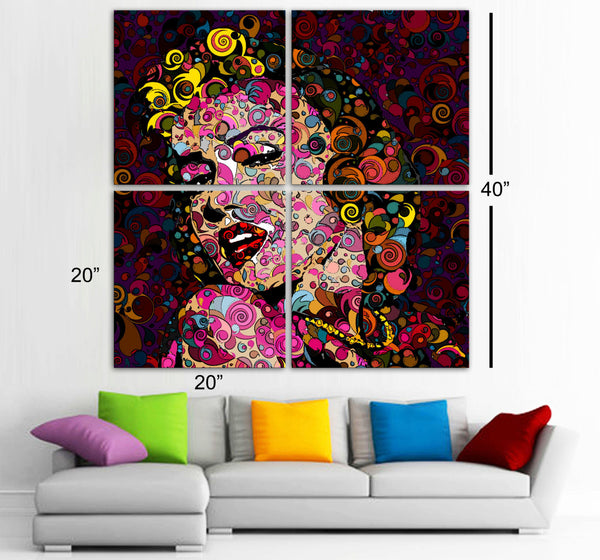 "MARILYN MONROE 4 Panels HUGE 40""x 40"" Original Art Canvas Print Limited Edition this 16/5000  Wall home (Included framed 1.5"" depth) - BoxColors"