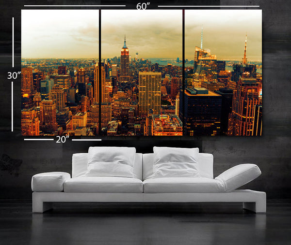 "LARGE 30""x 60"" 3 Panels Art Canvas Print Beautiful view Manhattan skyline New York City NY Wall Home - BoxColors"