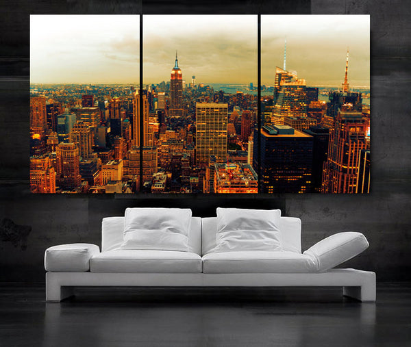 "LARGE 30""x 60"" 3 Panels Art Canvas Print Beautiful view Manhattan skyline New York City NY Wall Home (Included framed 1.5"" depth) - BoxColors"