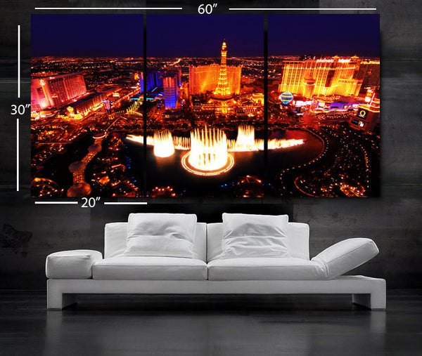 "LARGE 30""x 60"" 3 Panels Art Canvas Print Beautiful skyline view Las Vegas Nevada night Wall Home (Included framed 1.5"" depth) - BoxColors"
