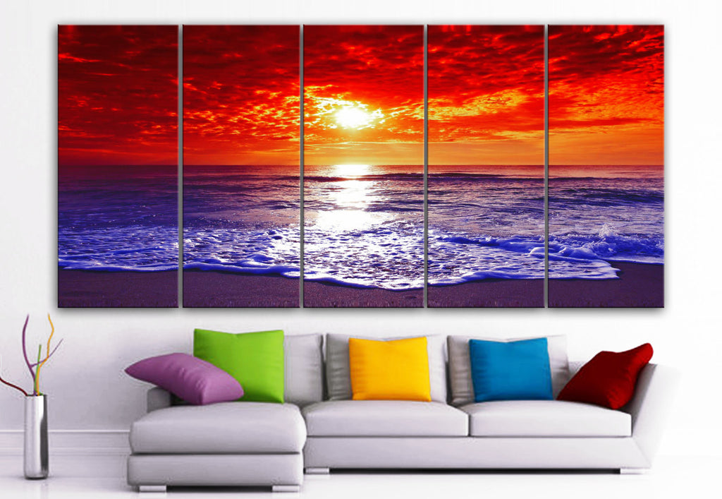 "XLARGE 30""x 70"" 5 Panels Art Canvas Print Beach Sunset Wall Home Decor interior (Included framed 1.5"" depth) - BoxColors"