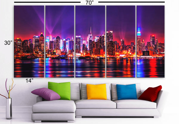 "XLARGE 30""x 70"" 5 Panels Art Canvas Print Beautiful skyline New York  City NY night Wall Home (Included framed 1.5"" depth) - BoxColors"