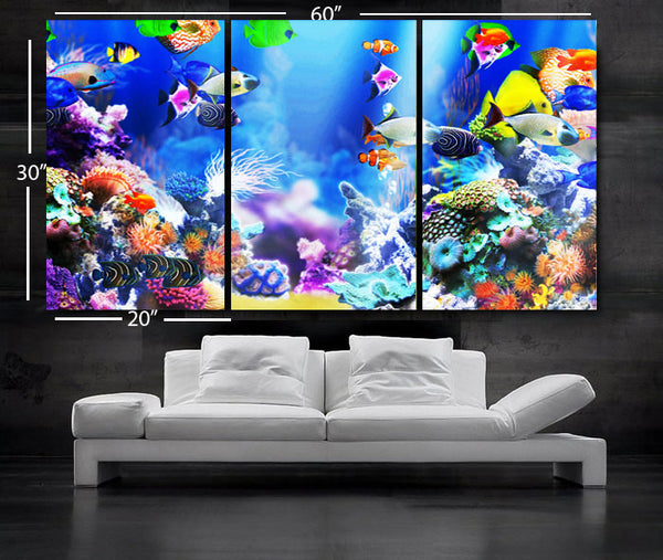 "LARGE 30""x 60"" 3 Panels Art Canvas Print beautiful Aquarium Fish Wall decorative home interior (Included framed 1.5"" depth) - BoxColors"