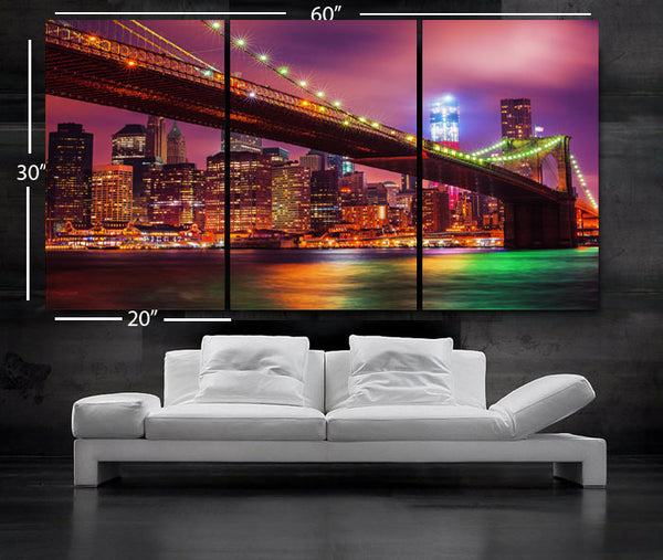 "LARGE 30""x 60"" 3 Panels Art Canvas Print Beautiful Brooklyn bridge New York City NY Wall Home (Included framed 1.5"" depth) - BoxColors"