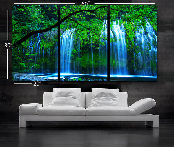 "LARGE 30""x 60"" 3 Panels Art Canvas Print beautiful Waterfall Trees Green Blue river Wall Home (Included framed 1.5"" depth) - BoxColors"