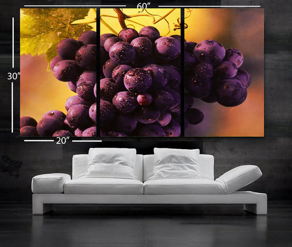 "LARGE 30""x 60"" 3 Panels Art Canvas Print beautiful Grapes fruits Wall decorative home (Included framed 1.5"" depth) - BoxColors"