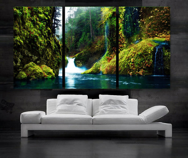 "LARGE 30""x 60"" 3 Panels Art Canvas Print beautiful Waterfall in forest Green Blue river Wall Home (Included framed 1.5"" depth) - BoxColors"