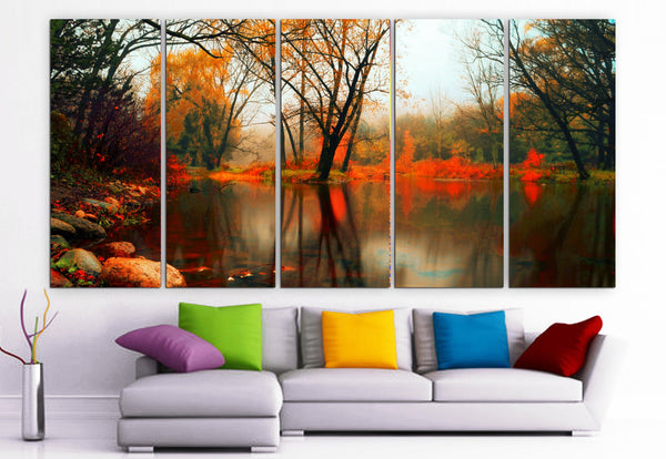 "XLARGE 30""x 70"" 5 Panels Art Canvas Print beautiful river  trees Wall Home Decor (Included framed 1.5"" depth) - BoxColors"