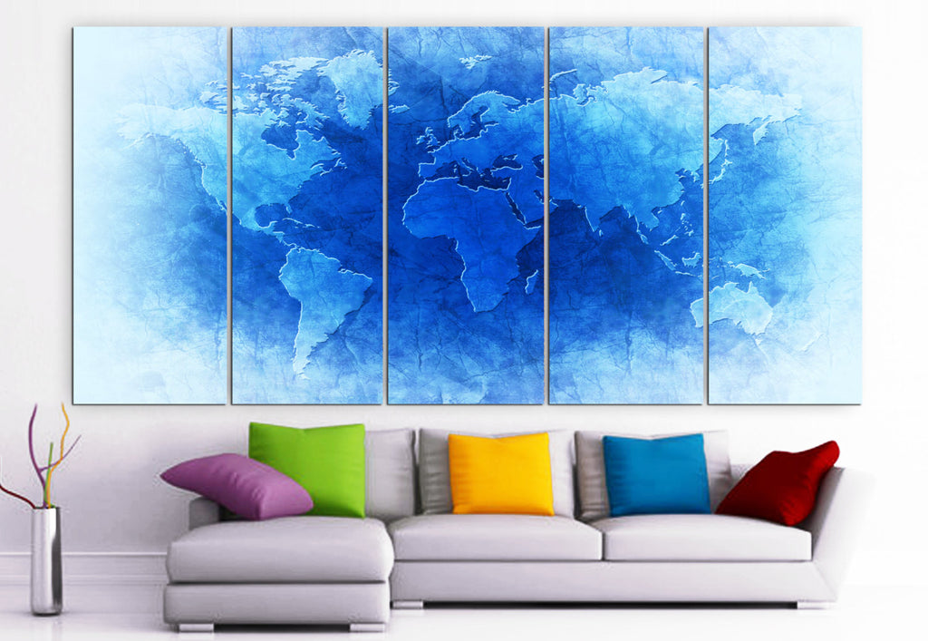 "XLARGE 30""x 70"" 5 Panels Art Canvas Print beautiful World Map Blue & Brown Wall Home Decor interior (Included framed 1.5"" depth) - BoxColors"