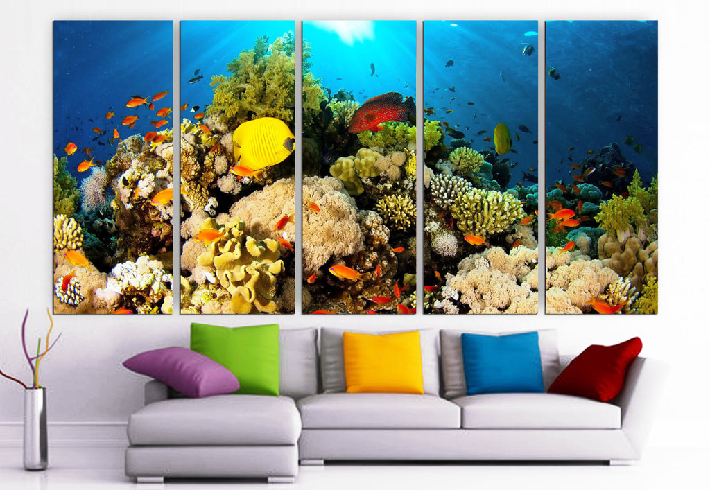 "XLARGE 30""x 70"" 5 Panels Art Canvas Print beautiful water sea fish corals Wall Home Decor (Included framed 1.5"" depth) - BoxColors"