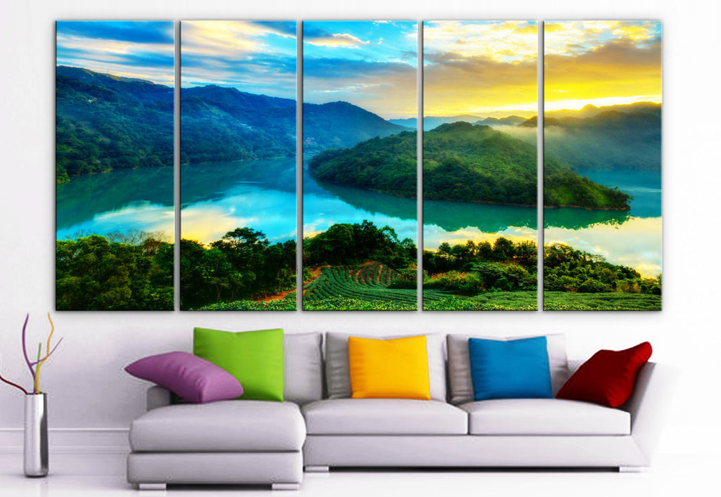 "XLARGE 30""x 70"" 5 Panels Art Canvas Print beautiful mountains sea sunrise sunset trees Wall Home Decor (Included framed 1.5"" depth) - BoxColors"