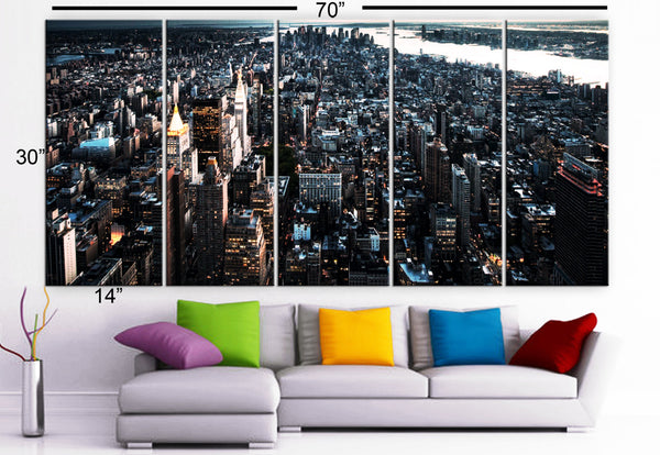 "XLARGE 30""x 70"" 5 Panels Art Canvas Print New York City skyscraper street lights Manhattan skyline Wall Home (Included framed 1.5"" depth) - BoxColors"