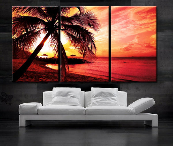"LARGE 30""x 60"" 3 Panels Art Canvas Print beautiful Palm tree Beach Sunset Wall home office decor interior (Included framed 1.5"" depth) - BoxColors"