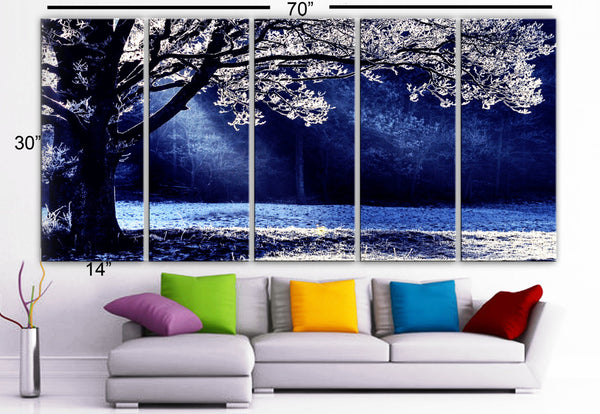 "XLARGE 30""x 70"" 5 Panels Art Canvas Print beautiful Contrast sun winter tree Blue White Blck Wall Home interior (Included framed 1.5"" depth) - BoxColors"