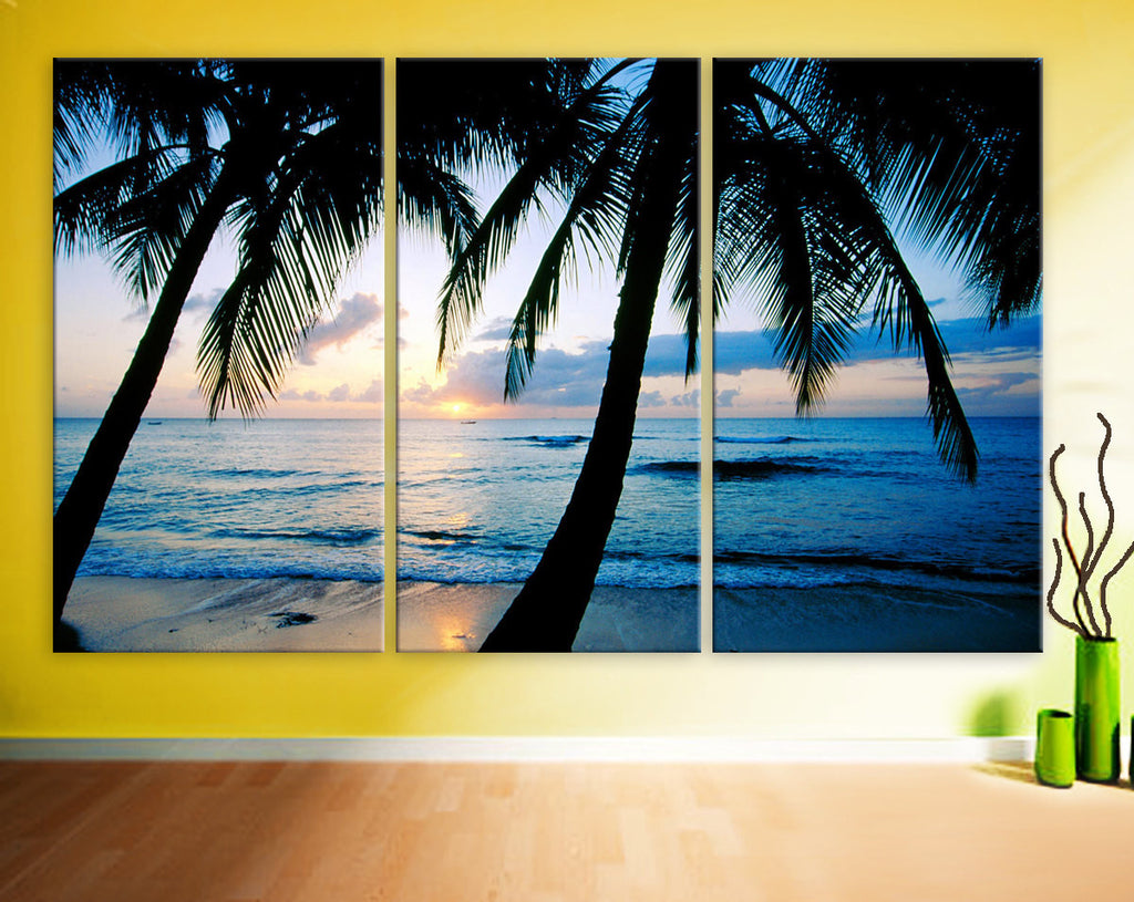Art Canvas Print beautiful sunset Beach ocean Palm sea blue Wall home office decor interior - BoxColors